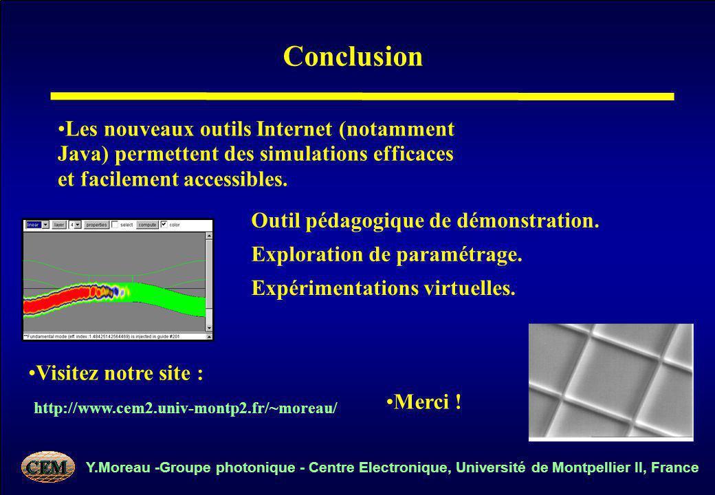 Y.Moreau -Groupe photonique - Centre Electronique, Université de Montpellier II, France Conclusion Les nouveaux outils Internet (notamment Java) permettent des simulations efficaces et facilement accessibles.