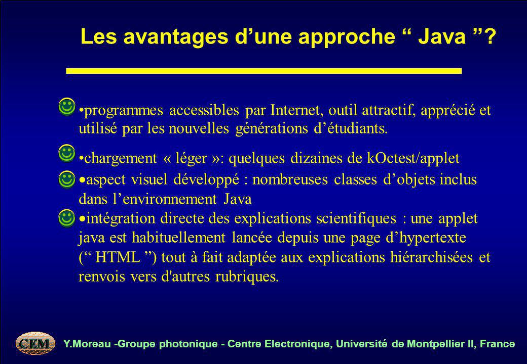 Y.Moreau -Groupe photonique - Centre Electronique, Université de Montpellier II, France programmes accessibles par Internet, outil attractif, apprécié