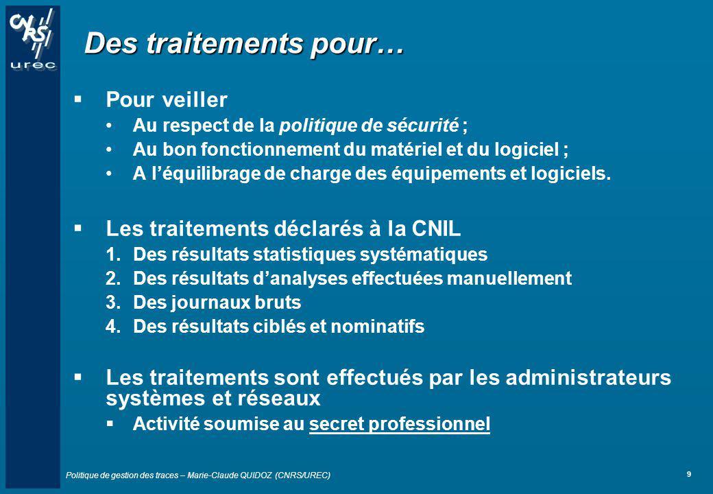 Politique de gestion des traces – Marie-Claude QUIDOZ (CNRS/UREC) 9 Des traitements pour… Pour veiller Au respect de la politique de sécurité ; Au bon