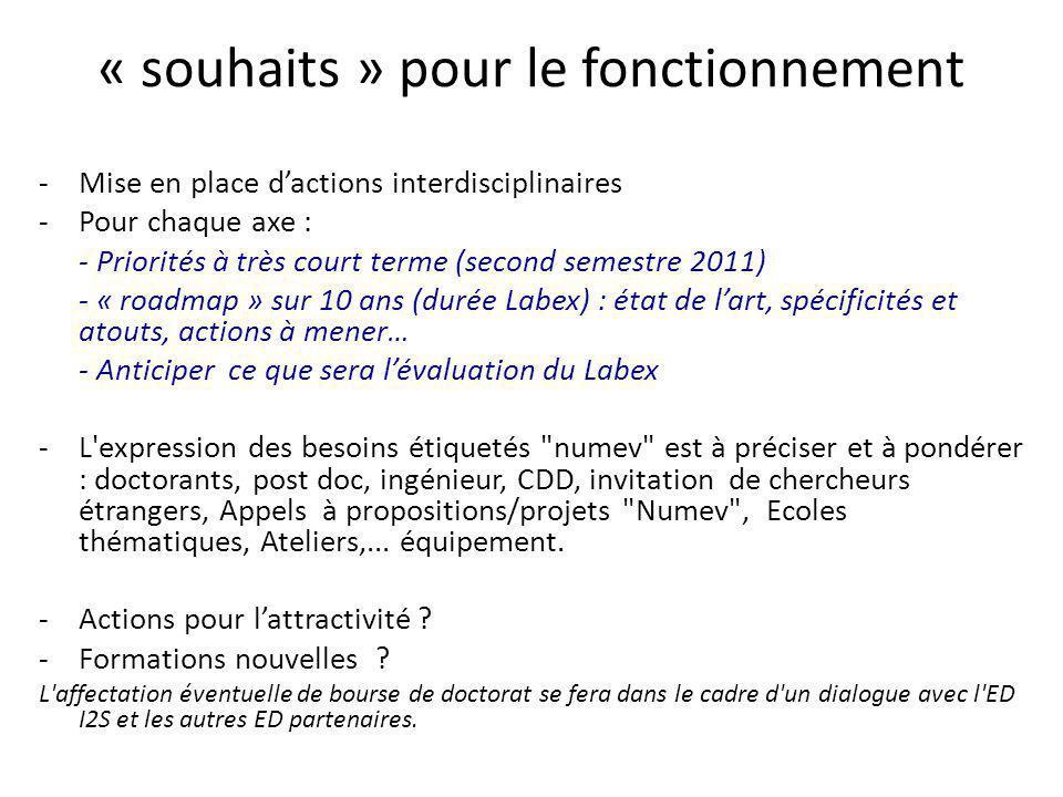 « souhaits » pour le fonctionnement -Mise en place dactions interdisciplinaires -Pour chaque axe : - Priorités à très court terme (second semestre 201