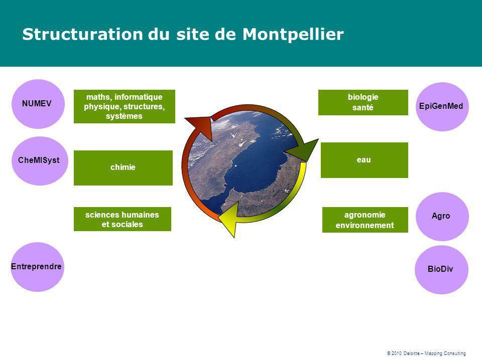 © 2010 Deloitte – Mapping Consulting Structuration du site de Montpellier eau agronomie environnement sciences humaines et sociales chimie maths, info