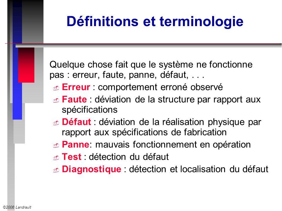 ©2008 Landrault Définitions et terminologie Quelque chose fait que le système ne fonctionne pas : erreur, faute, panne, défaut,... Erreur : comporteme