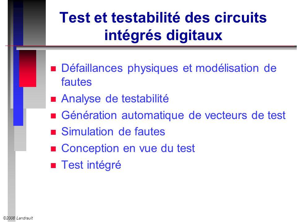 ©2008 Landrault Test et testabilité des circuits intégrés digitaux n Défaillances physiques et modélisation de fautes n Analyse de testabilité n Génér