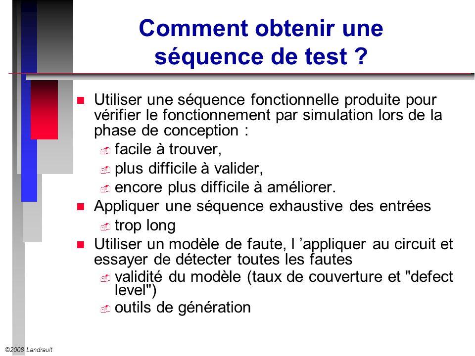 ©2008 Landrault Comment obtenir une séquence de test ? n Utiliser une séquence fonctionnelle produite pour vérifier le fonctionnement par simulation l