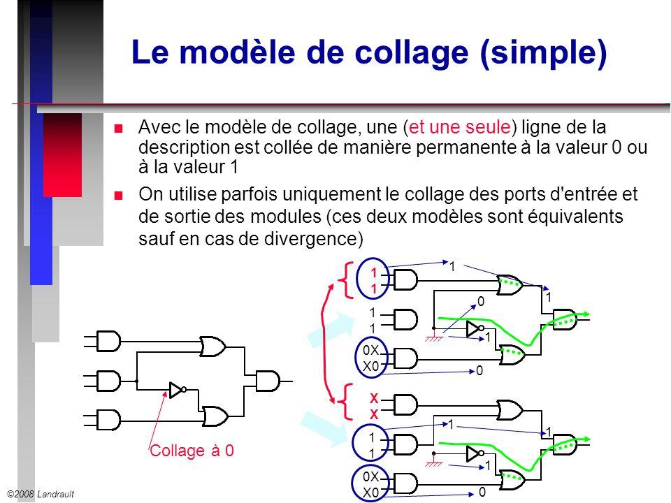 ©2008 Landrault Le modèle de collage (simple) n Avec le modèle de collage, une (et une seule) ligne de la description est collée de manière permanente à la valeur 0 ou à la valeur 1 n On utilise parfois uniquement le collage des ports d entrée et de sortie des modules (ces deux modèles sont équivalents sauf en cas de divergence) Collage à 0 1111 1 1 1111 0 XXXX 1111 1 1 1 0X X0 1 0X X0 0 0