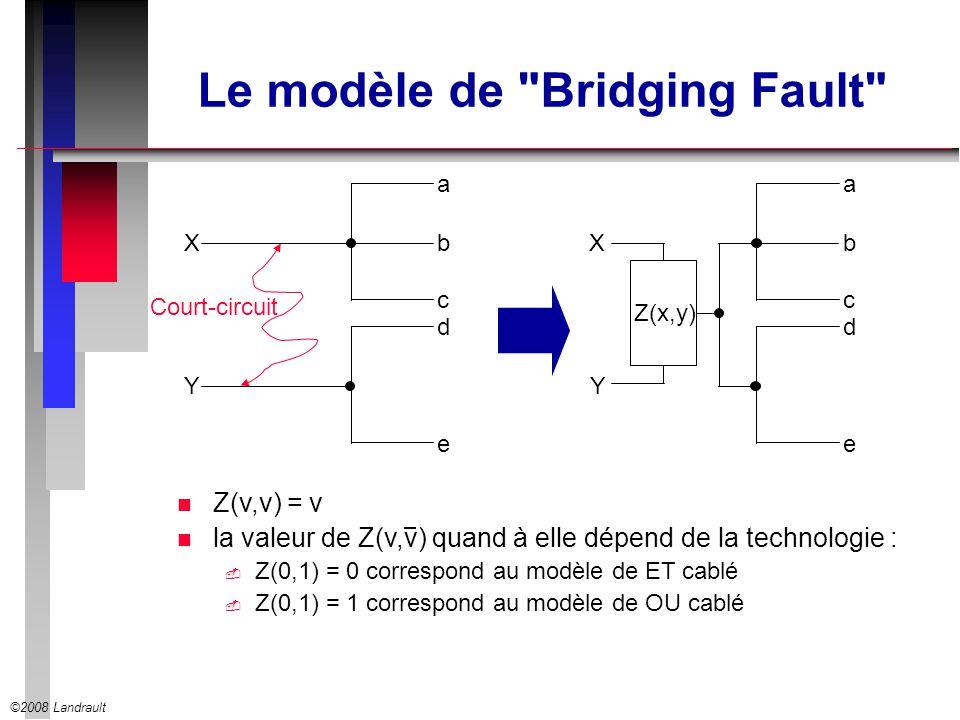 ©2008 Landrault Le modèle de Bridging Fault n Z(v,v) = v n la valeur de Z(v,v) quand à elle dépend de la technologie : Z(0,1) = 0 correspond au modèle de ET cablé Z(0,1) = 1 correspond au modèle de OU cablé X Y a c d e bX Y a c d e b Court-circuit Z(x,y)