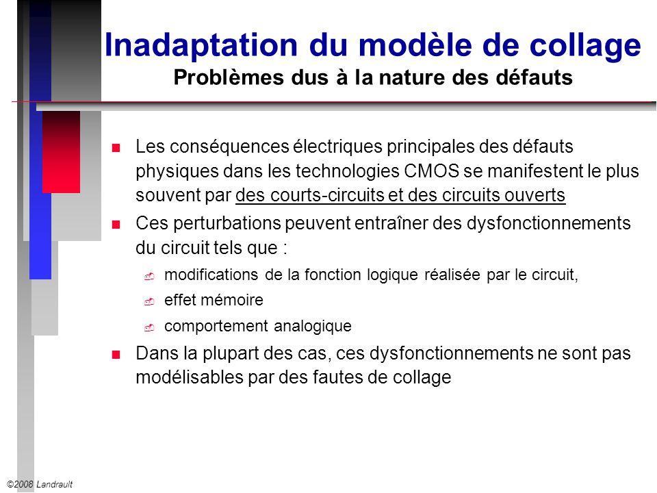 ©2008 Landrault Inadaptation du modèle de collage Problèmes dus à la nature des défauts n Les conséquences électriques principales des défauts physiqu