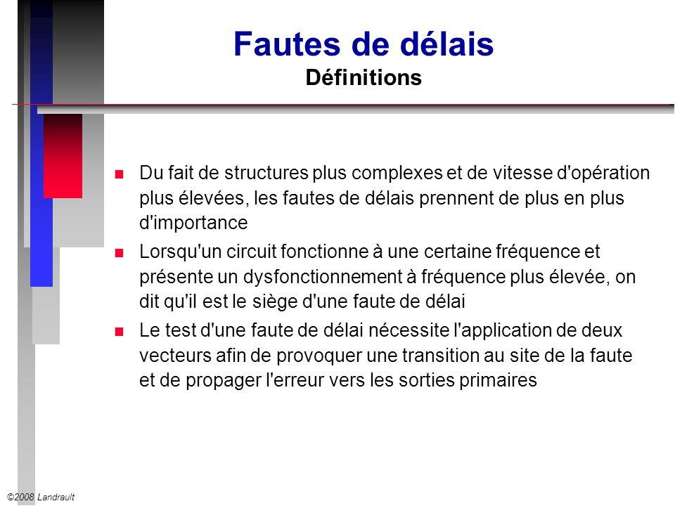 ©2008 Landrault Fautes de délais Définitions n Du fait de structures plus complexes et de vitesse d'opération plus élevées, les fautes de délais prenn