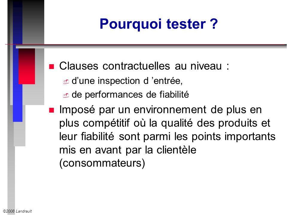©2008 Landrault Pourquoi tester ? n Clauses contractuelles au niveau : dune inspection d entrée, de performances de fiabilité n Imposé par un environn
