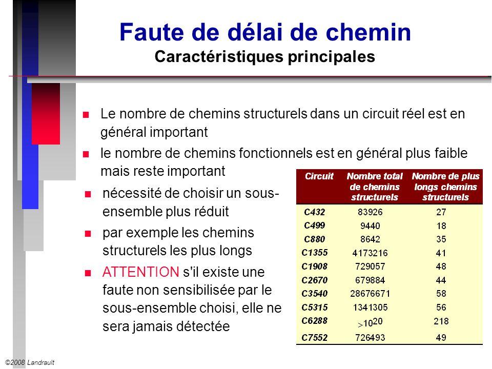 ©2008 Landrault Faute de délai de chemin Caractéristiques principales n Le nombre de chemins structurels dans un circuit réel est en général important