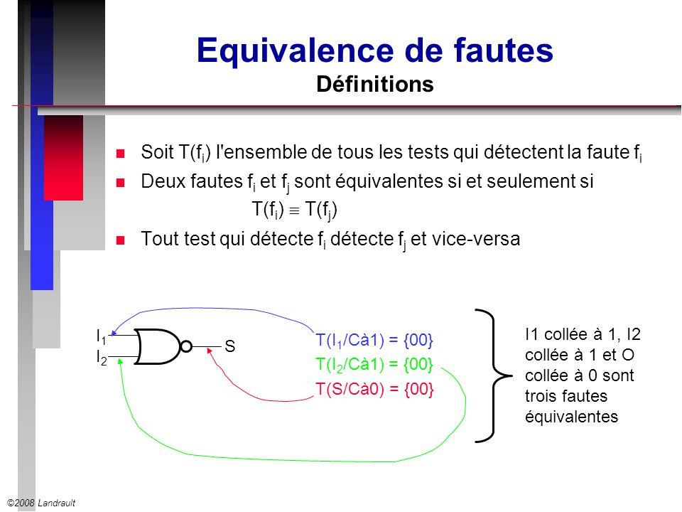 ©2008 Landrault Equivalence de fautes Définitions n Soit T(f i ) l ensemble de tous les tests qui détectent la faute f i n Deux fautes f i et f j sont équivalentes si et seulement si T(f i ) T(f j ) n Tout test qui détecte f i détecte f j et vice-versa I1I1 I2I2 S T(I 1 /Cà1) = {00} T(I 2 /Cà1) = {00} T(S/Cà0) = {00} I1 collée à 1, I2 collée à 1 et O collée à 0 sont trois fautes équivalentes