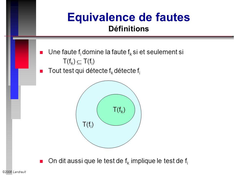 ©2008 Landrault Equivalence de fautes Définitions n Une faute f i domine la faute f k si et seulement si T(f k ) T(f i ) n Tout test qui détecte f k détecte f i n On dit aussi que le test de f k implique le test de f i T(f k ) T(f i )