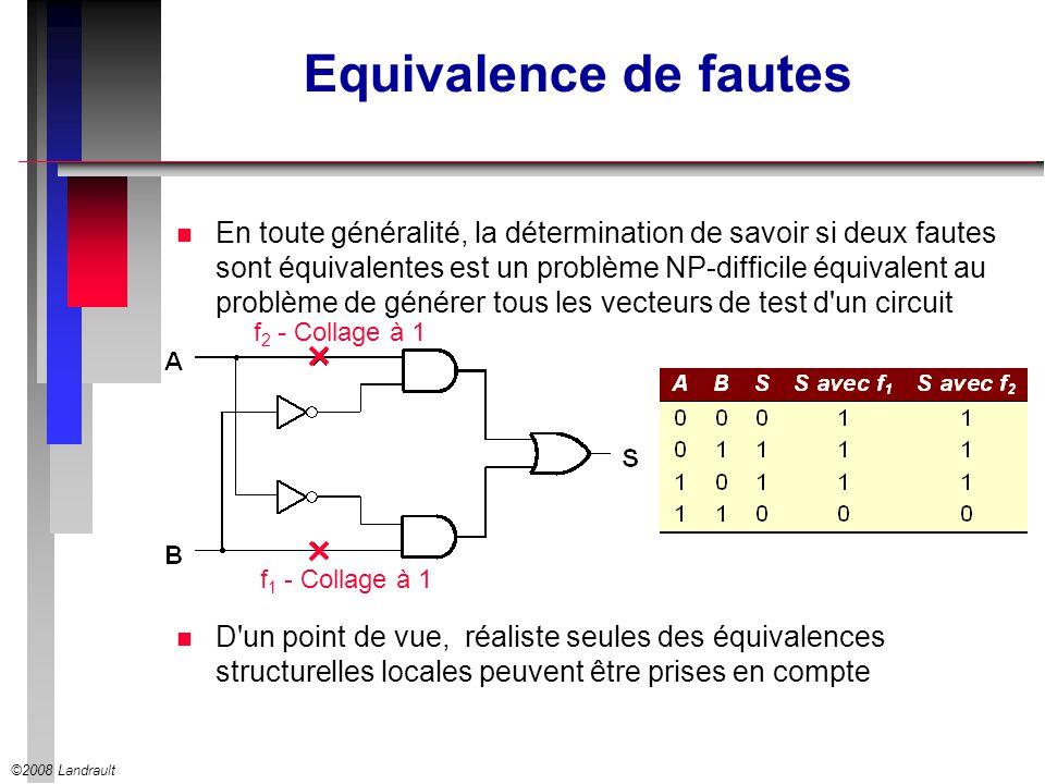 ©2008 Landrault Equivalence de fautes n En toute généralité, la détermination de savoir si deux fautes sont équivalentes est un problème NP-difficile équivalent au problème de générer tous les vecteurs de test d un circuit n D un point de vue, réaliste seules des équivalences structurelles locales peuvent être prises en compte f 1 - Collage à 1 f 2 - Collage à 1