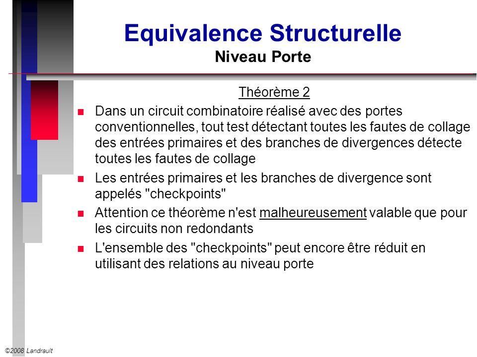 ©2008 Landrault Equivalence Structurelle Niveau Porte Théorème 2 n Dans un circuit combinatoire réalisé avec des portes conventionnelles, tout test dé