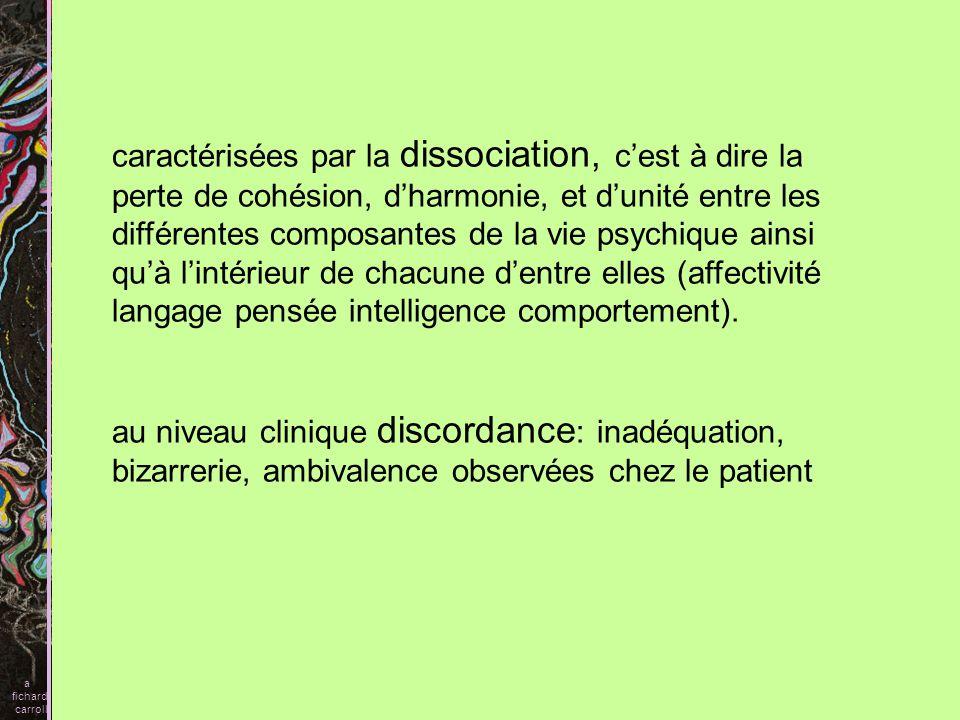 A) Symptômes schizophréniques 1) Syndrome dissociatif (symptôme principal dans la clinique française) 2) Autisme SZ 3) Délires SZ a fichard carroll