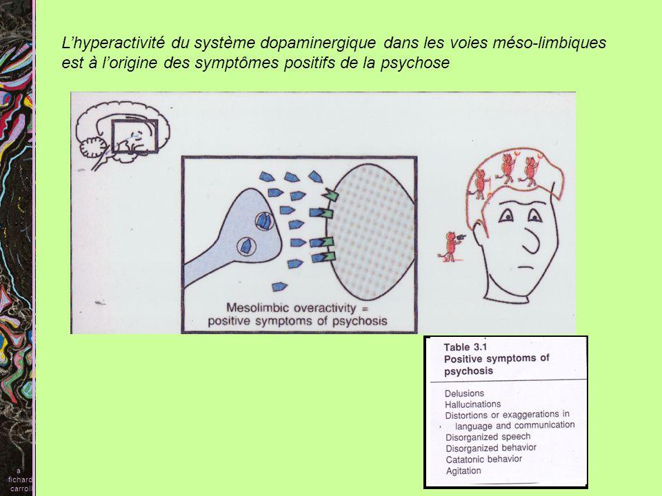 Les neuroleptiques conventionnels Blocage des récepteurs D2 Le blocage des récepteurs dopaminergiques dans le circuit mésolimbique médie les aspects antipsychotiques Par contre le blocage de ces mêmes récepteurs au niveau nigrostriatal produit des mouvements désordonnées comme dans la maladie de Parkinson aussi appelé syndromes extrapyramidaux a fichard carroll