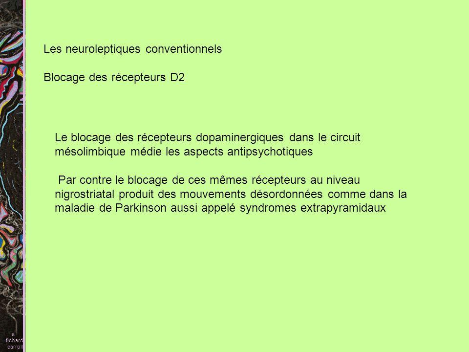 Dyskinésie tardive Au niveau nigro-striatal, le blocage des récepteurs D2, peut conduire à des dyskinésies tardives a fichard carroll