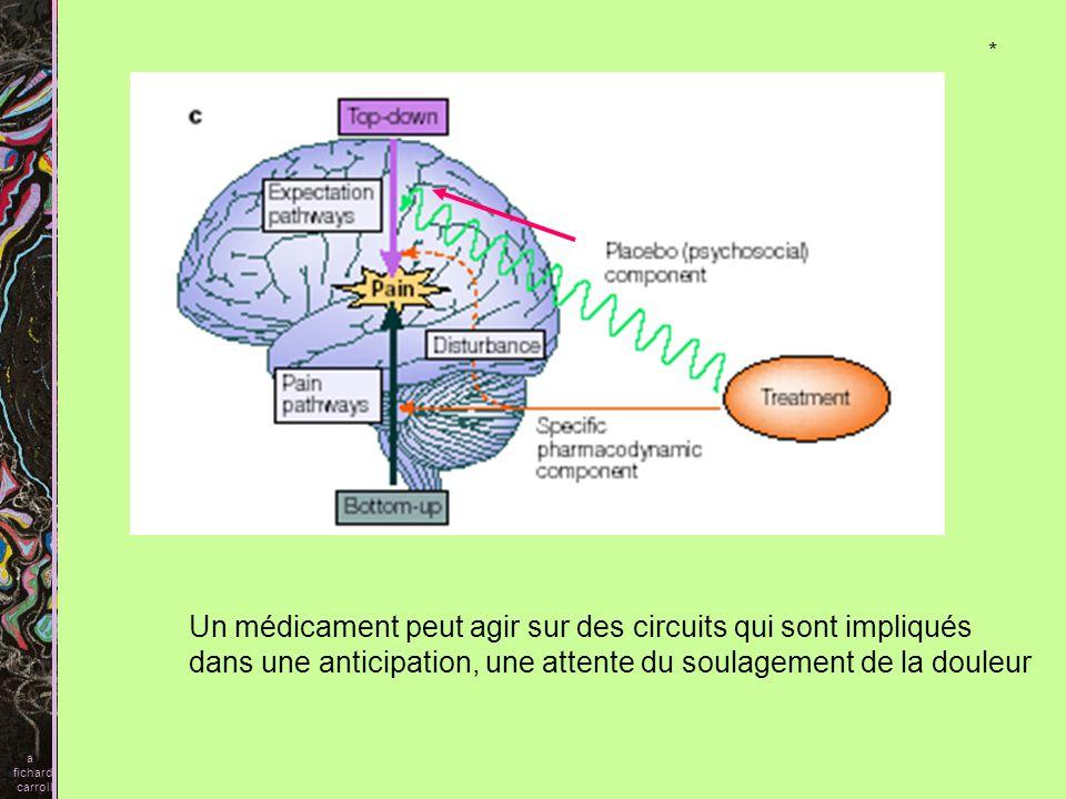 Un médicament peut agir sur des circuits qui sont impliqués dans une anticipation, une attente du soulagement de la douleur a fichard carroll *