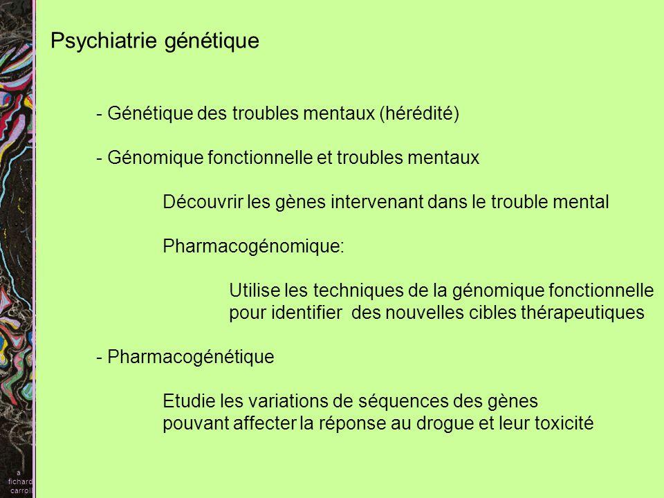I) Préambule revoir quelques notions de génétique élémentaire Les polymorphismes génétiques, satellite, SNP,CNV II) Génétique des troubles mentaux, lexemple des SZ A) rappel B) Mise en évidence dune concentration III) Si cest génétique, quelq gènes, comment la maladie se transmet A) les endiphénotypes B) A la recherche des gènes 1) Analyse de liaison 2) Etude dassociation 3) Génétique positionnelle 3A dysbinine 3B Neuréguline 3C DAO 3D données de cytogénétique DISC Le syndrome VCF, et la COMT C) Modèles de transmission.
