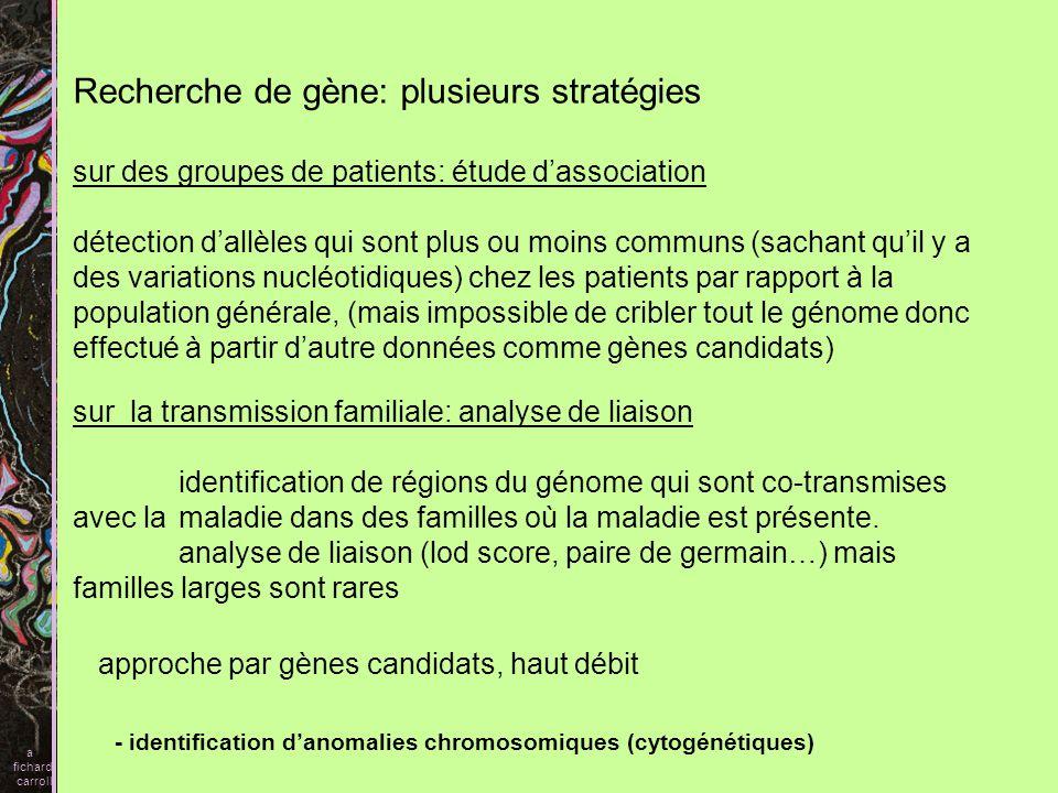 3D) Données de cytogénétique 1) Translocation réciproque équilibrée entre (1;11) (q42;q14,3) Deux gènes sur le chromosome 1 sont touchés par cette translocation DISC1 (Disrupted in Schizophrenia) DISC2 DISC2 na pas dORF mais pourrait agir comme un antisens pour contrôler DISC1 DISC1 régulerait la fonction du cytosquelette a fichard carroll