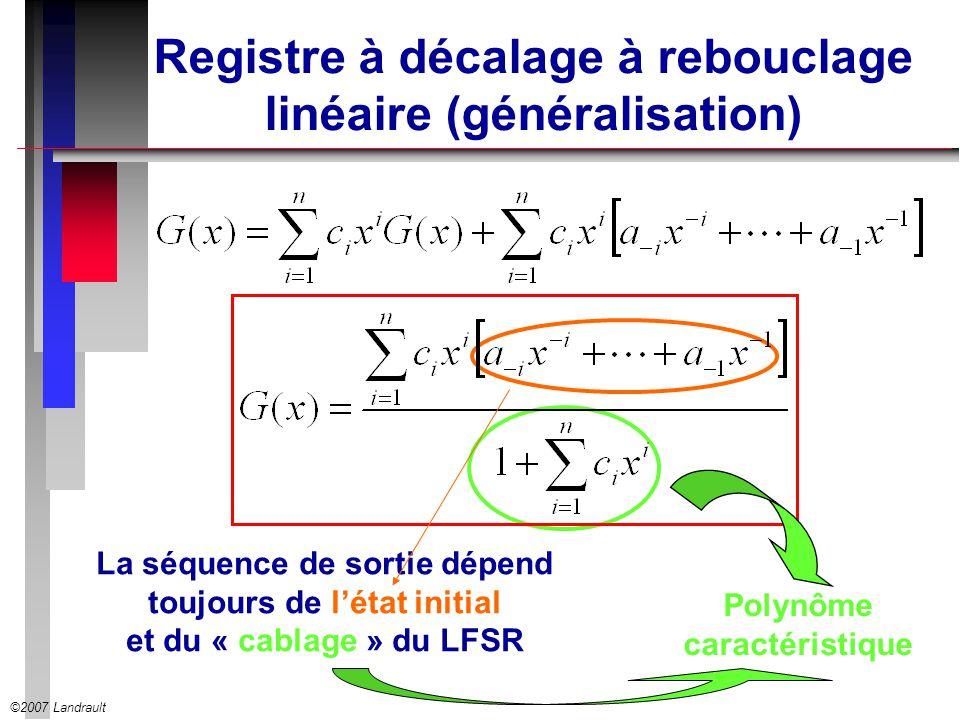 ©2007 Landrault Registre à décalage à rebouclage linéaire (généralisation) La séquence de sortie dépend toujours de létat initial et du « cablage » du