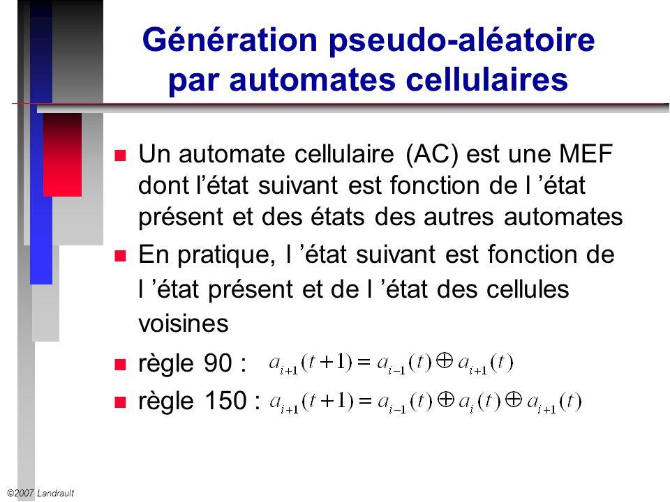 ©2007 Landrault Génération pseudo-aléatoire par automates cellulaires n Un automate cellulaire (AC) est une MEF dont létat suivant est fonction de l é