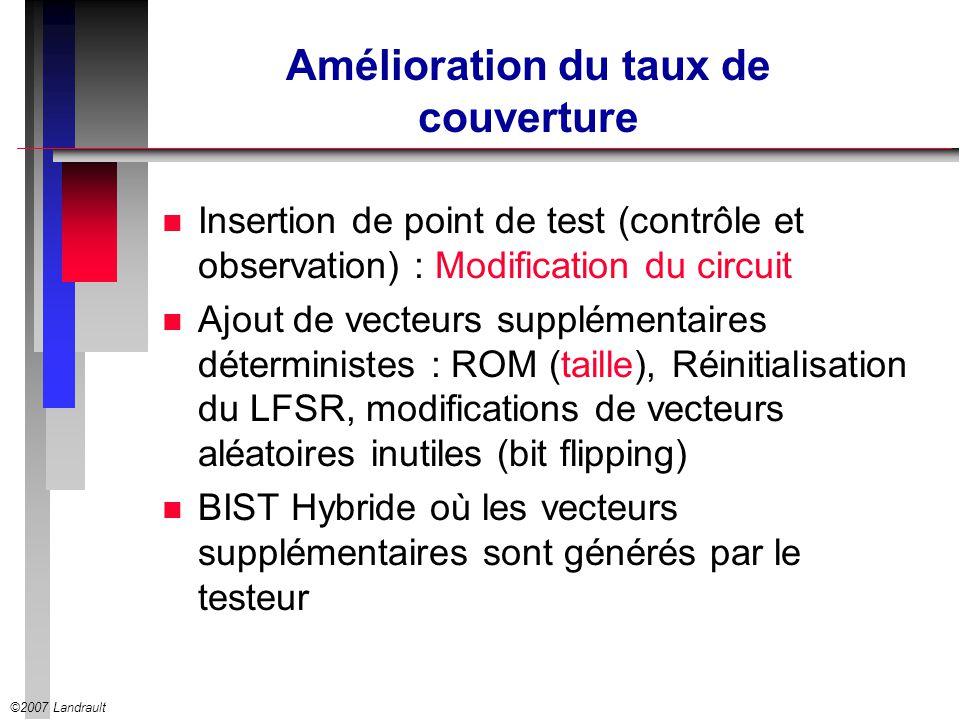 ©2007 Landrault Amélioration du taux de couverture n Insertion de point de test (contrôle et observation) : Modification du circuit n Ajout de vecteur
