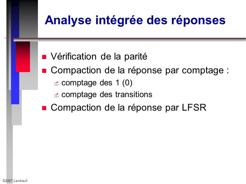 ©2007 Landrault Analyse intégrée des réponses n Vérification de la parité n Compaction de la réponse par comptage : comptage des 1 (0) comptage des tr