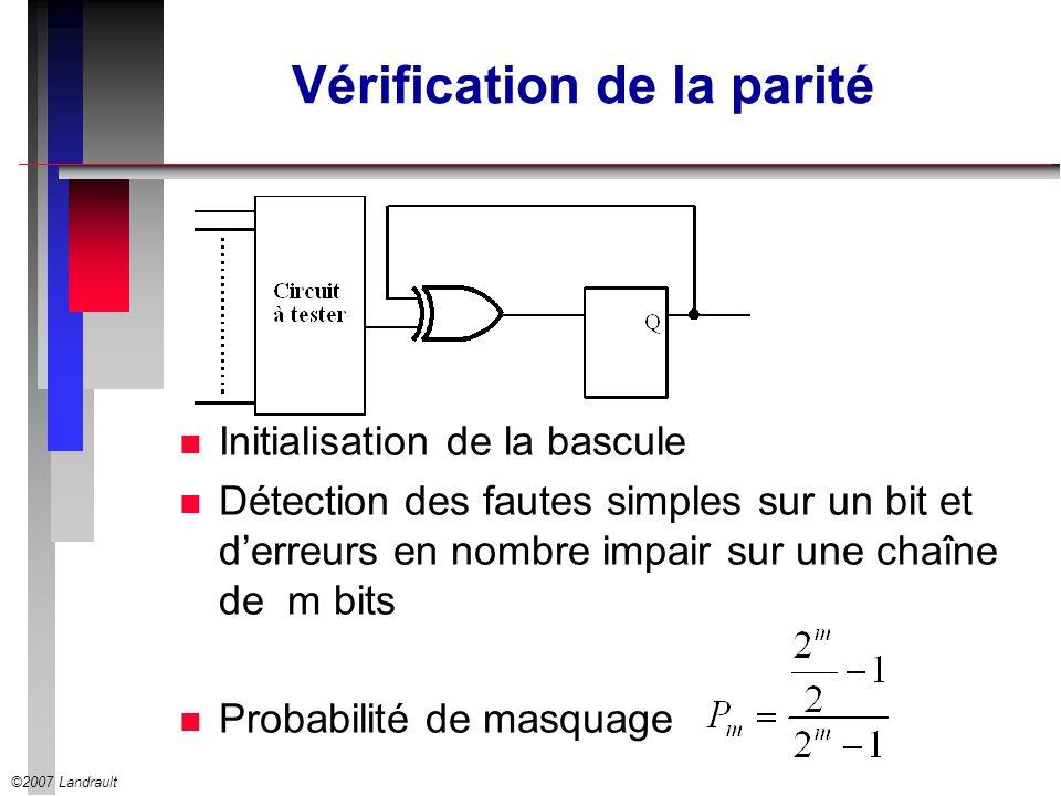 ©2007 Landrault Vérification de la parité n Initialisation de la bascule n Détection des fautes simples sur un bit et derreurs en nombre impair sur un