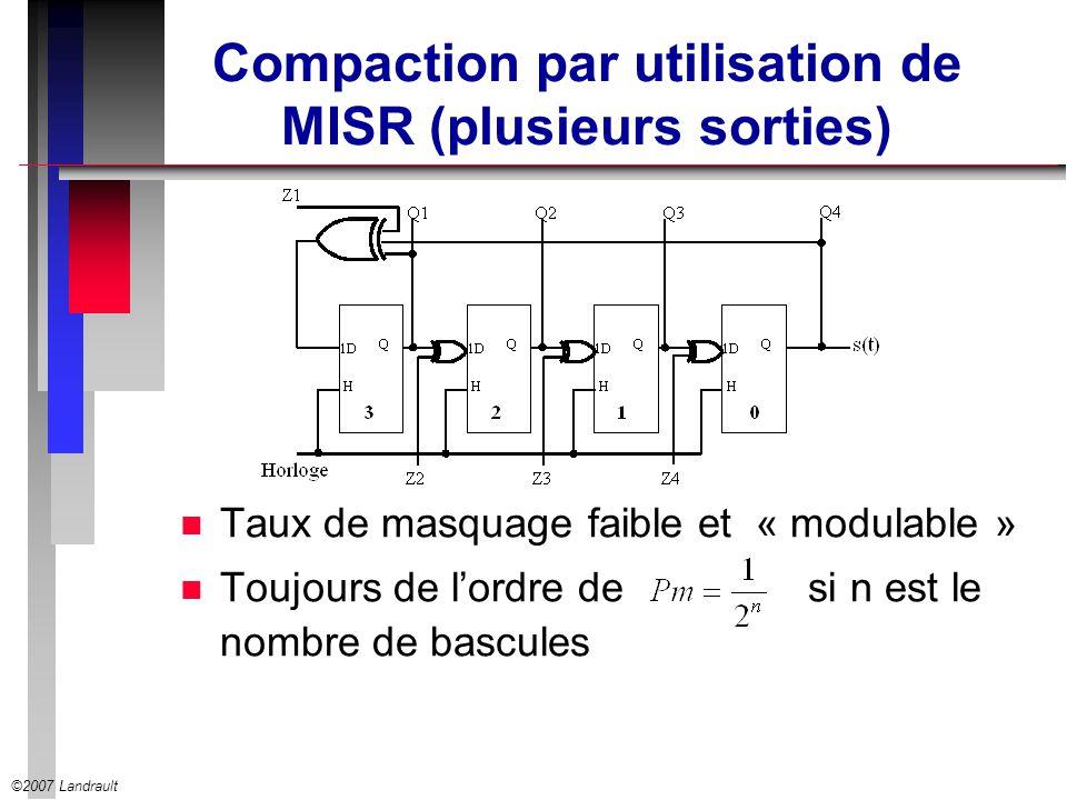 ©2007 Landrault Compaction par utilisation de MISR (plusieurs sorties) n Taux de masquage faible et « modulable » n Toujours de lordre de si n est le