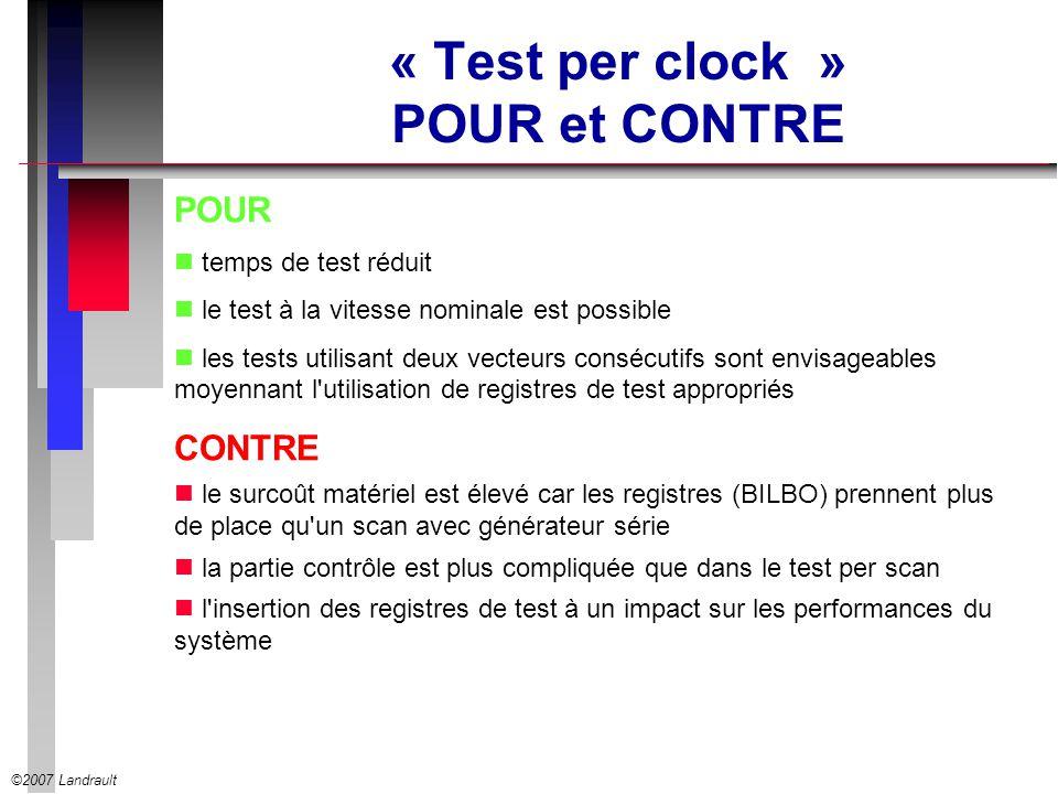 ©2007 Landrault « Test per clock » POUR et CONTRE POUR temps de test réduit le test à la vitesse nominale est possible les tests utilisant deux vecteu
