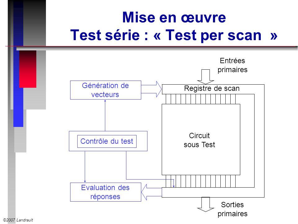 ©2007 Landrault Mise en œuvre Test série : « Test per scan » Contrôle du test Circuit sous Test Evaluation des réponses Génération de vecteurs Entrées