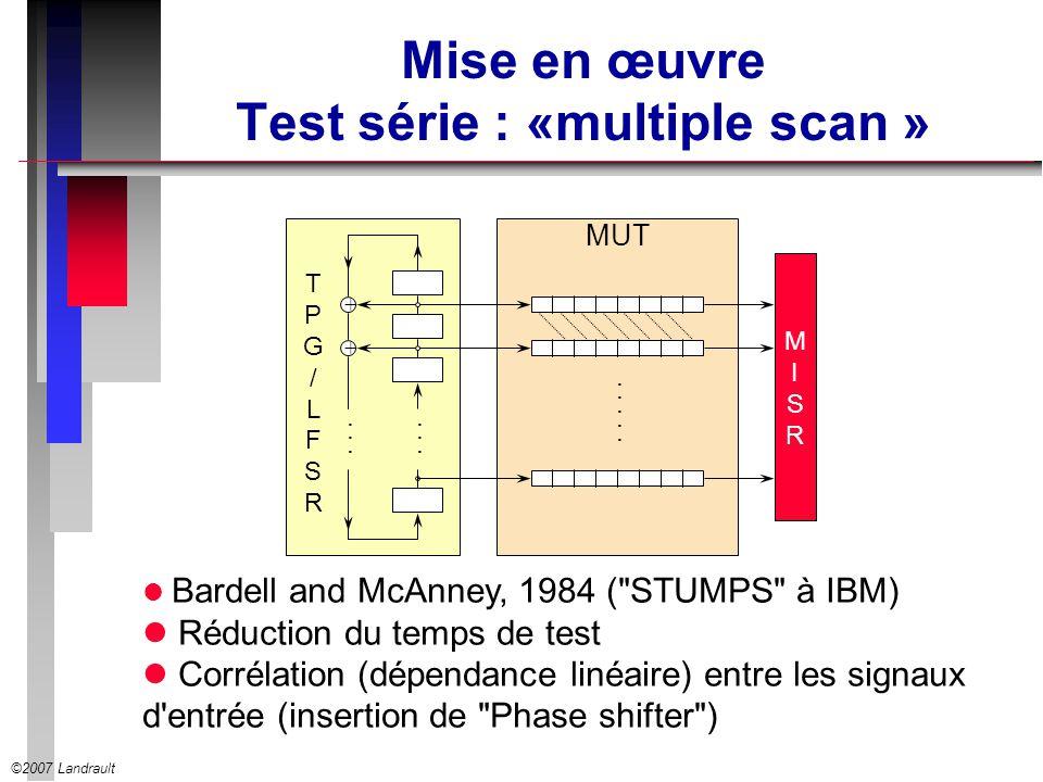 ©2007 Landrault Mise en œuvre Test série : «multiple scan » Bardell and McAnney, 1984 (