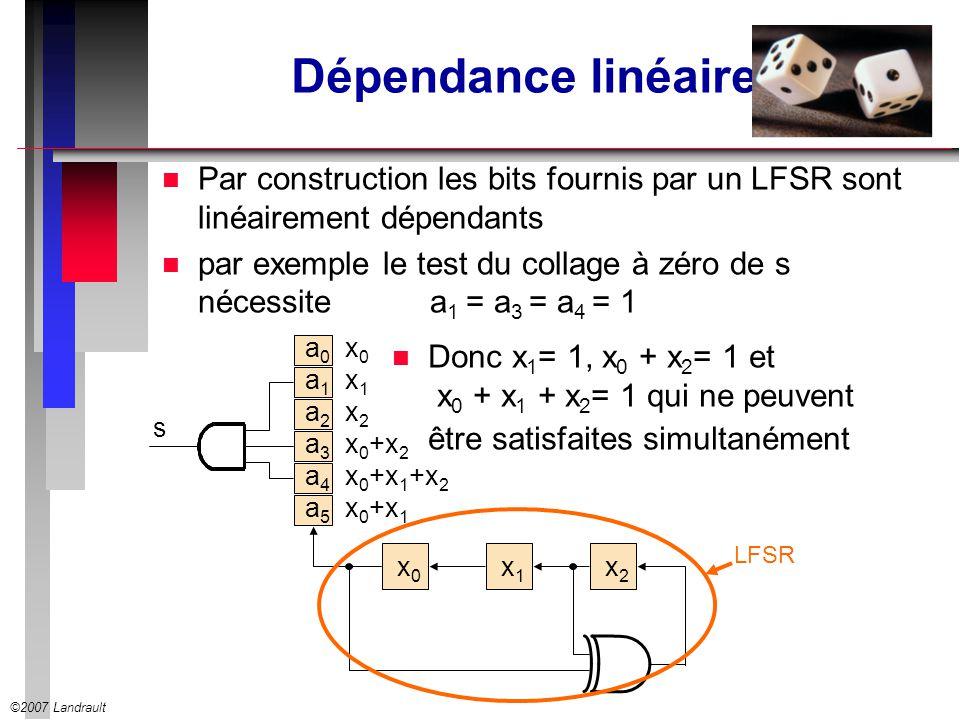 ©2007 Landrault Dépendance linéaire n Par construction les bits fournis par un LFSR sont linéairement dépendants n par exemple le test du collage à zé