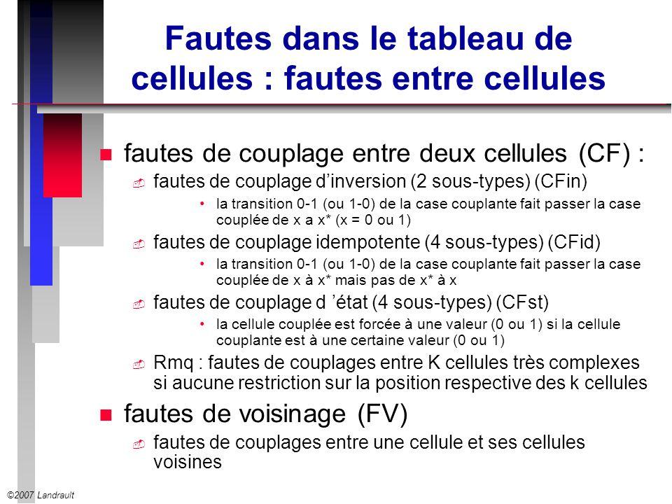 ©2007 Landrault Fautes dans le tableau de cellules : fautes entre cellules n fautes de couplage entre deux cellules (CF) : fautes de couplage dinversi