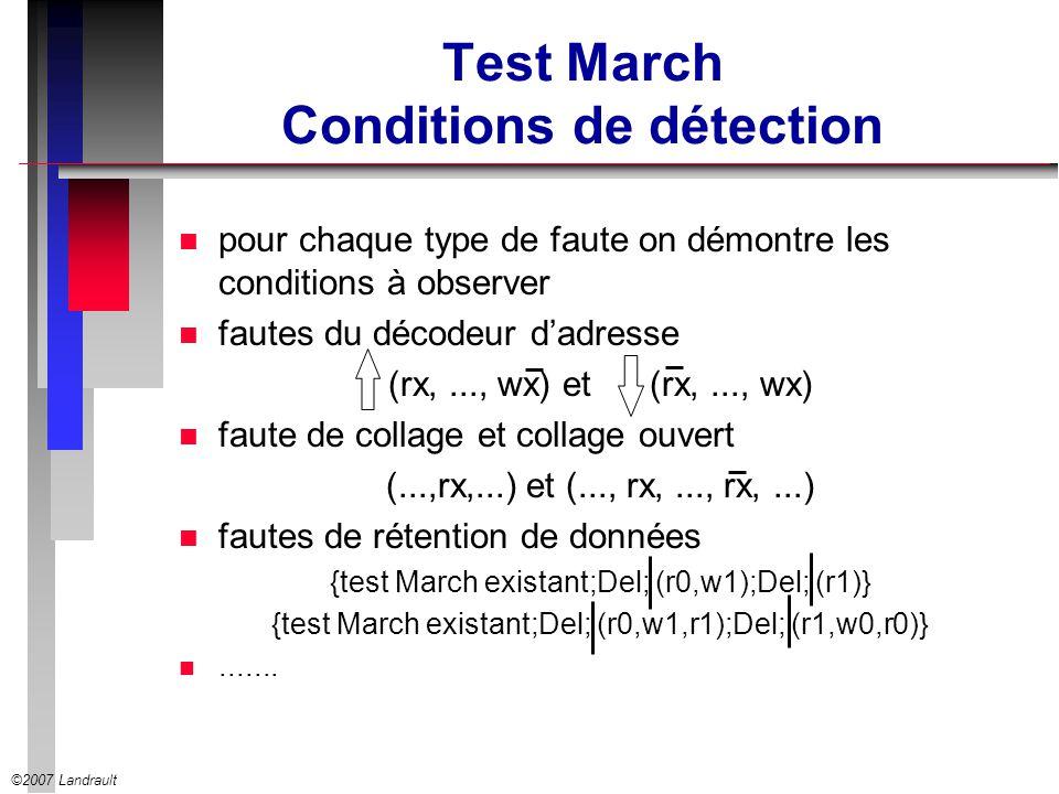 ©2007 Landrault Test March Conditions de détection n pour chaque type de faute on démontre les conditions à observer n fautes du décodeur dadresse (rx