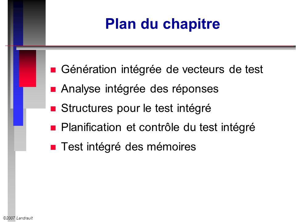 ©2007 Landrault Test des RAM Les algorithmes March n Tests pour les fautes de collage, les fautes de transition et les fautes de couplage Def1: un élément de March est une séquence finie dopérations appliquée à chaque cellule dune mémoire en les parcourant soit en ordre croissant ( ) soit en ordre décroissant ( ) n Un test March est une séquence finie déléments n exemple : le test MATS+ en 5n {   (w0); (r0,w1); (r1,w0)} (   signifie que lordre dadresses est indifférent)