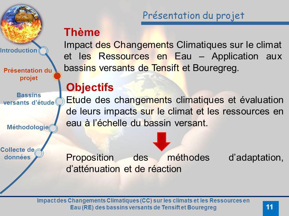 Impact des Changements Climatiques (CC) sur les climats et les Ressources en Eau (RE) des bassins versants de Tensift et Bouregreg 11 Présentation du