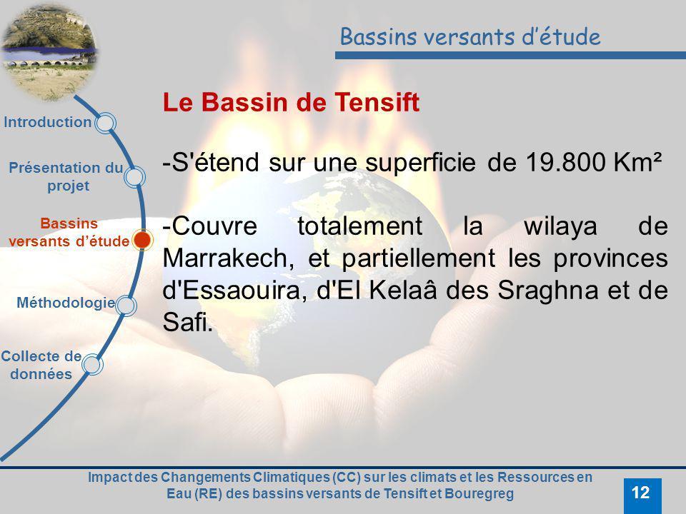 Impact des Changements Climatiques (CC) sur les climats et les Ressources en Eau (RE) des bassins versants de Tensift et Bouregreg 12 Bassins versants