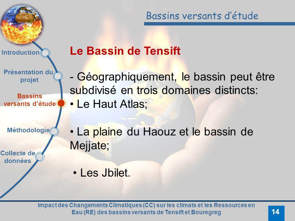Impact des Changements Climatiques (CC) sur les climats et les Ressources en Eau (RE) des bassins versants de Tensift et Bouregreg 14 Bassins versants