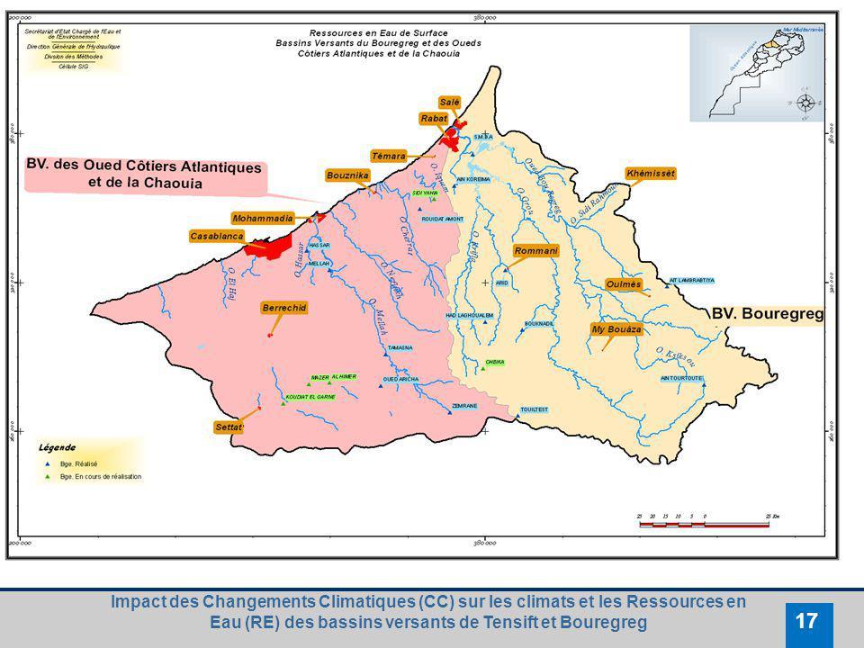 Impact des Changements Climatiques (CC) sur les climats et les Ressources en Eau (RE) des bassins versants de Tensift et Bouregreg 17