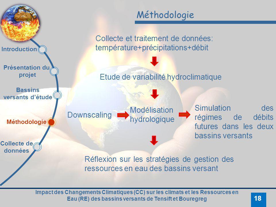 Impact des Changements Climatiques (CC) sur les climats et les Ressources en Eau (RE) des bassins versants de Tensift et Bouregreg 18 Méthodologie Col
