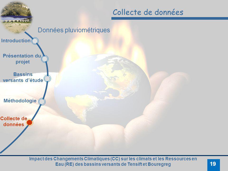 Impact des Changements Climatiques (CC) sur les climats et les Ressources en Eau (RE) des bassins versants de Tensift et Bouregreg 19 Collecte de donn