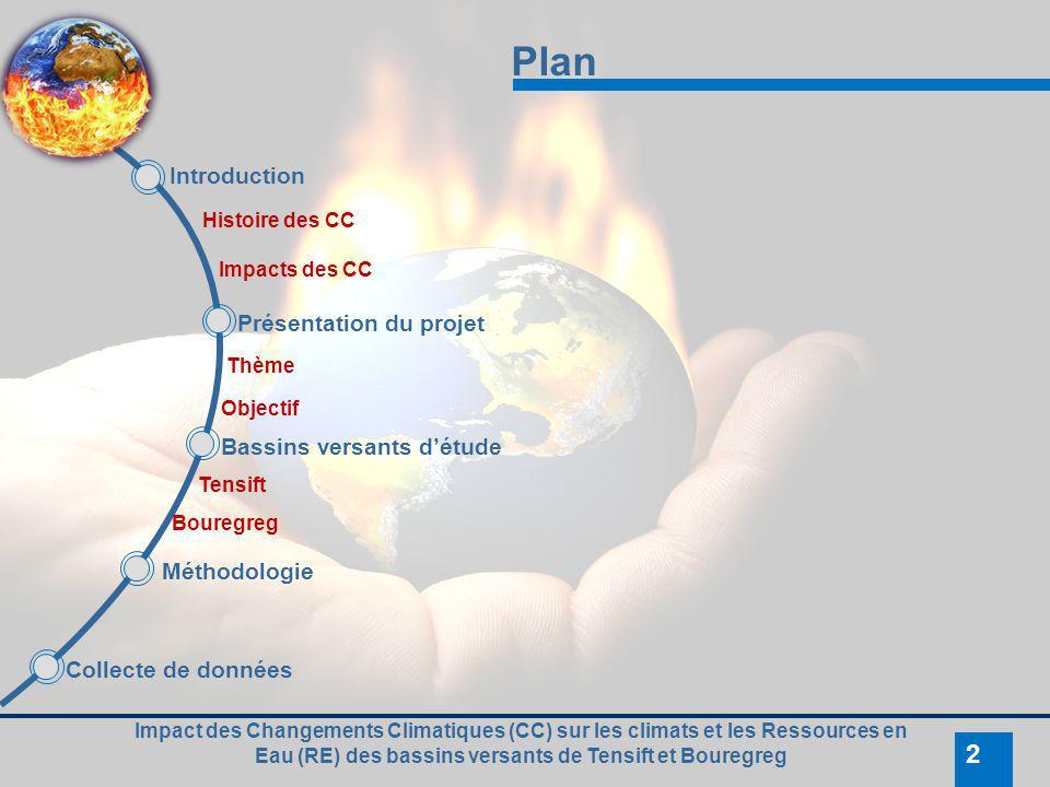 Impact des Changements Climatiques (CC) sur les climats et les Ressources en Eau (RE) des bassins versants de Tensift et Bouregreg 2 Plan Introduction