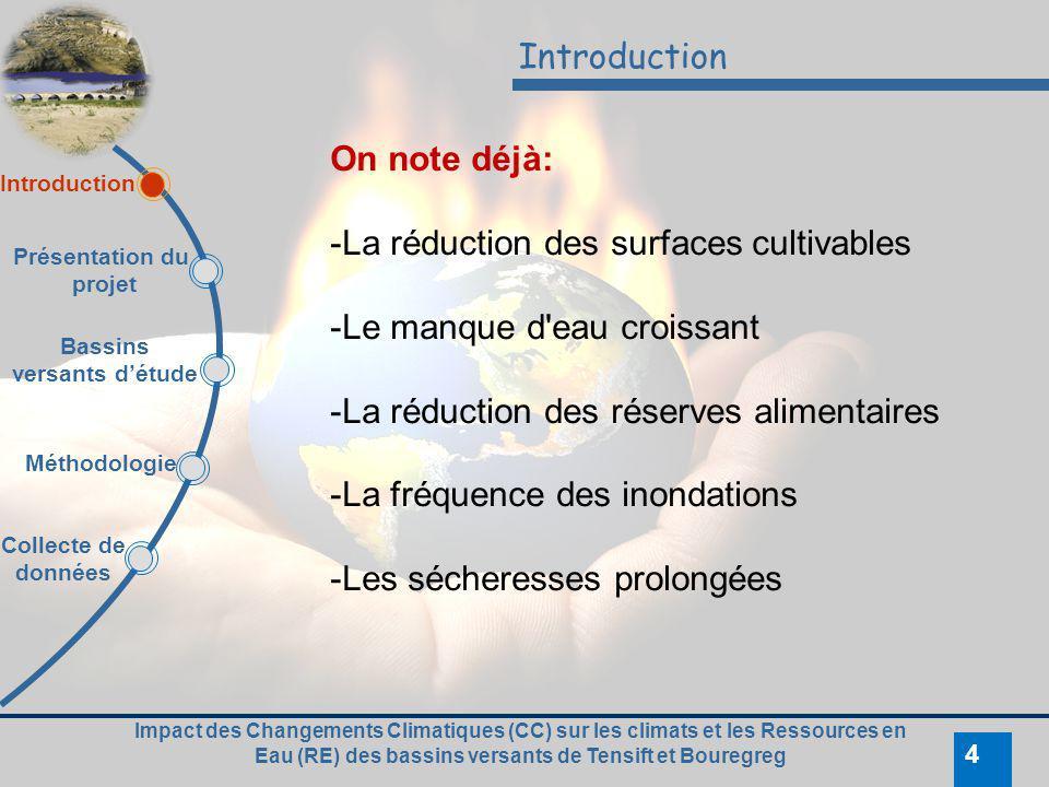 4 Introduction On note déjà: -La réduction des surfaces cultivables -Le manque d'eau croissant -La réduction des réserves alimentaires -La fréquence d
