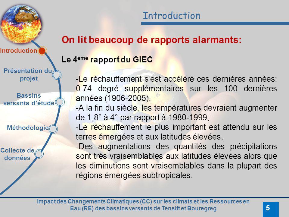 Impact des Changements Climatiques (CC) sur les climats et les Ressources en Eau (RE) des bassins versants de Tensift et Bouregreg 5 Introduction On l