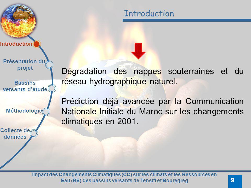 Impact des Changements Climatiques (CC) sur les climats et les Ressources en Eau (RE) des bassins versants de Tensift et Bouregreg 9 Introduction Dégr
