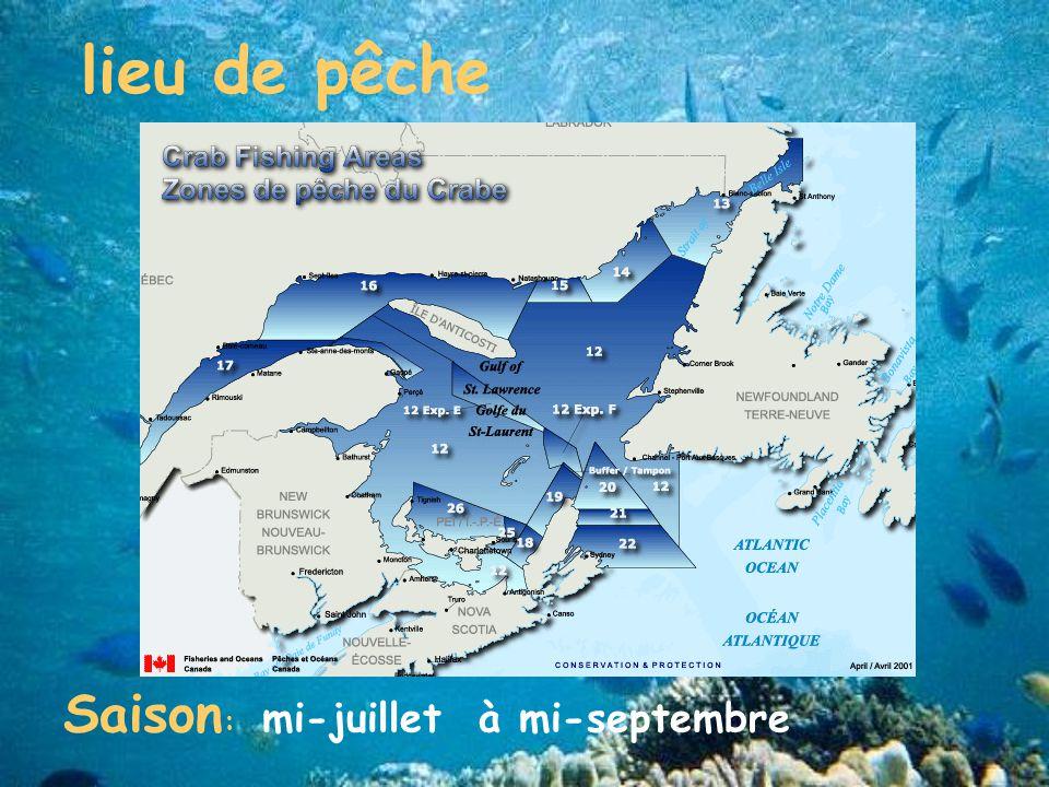 Saison : mi-juillet à mi-septembre lieu de pêche