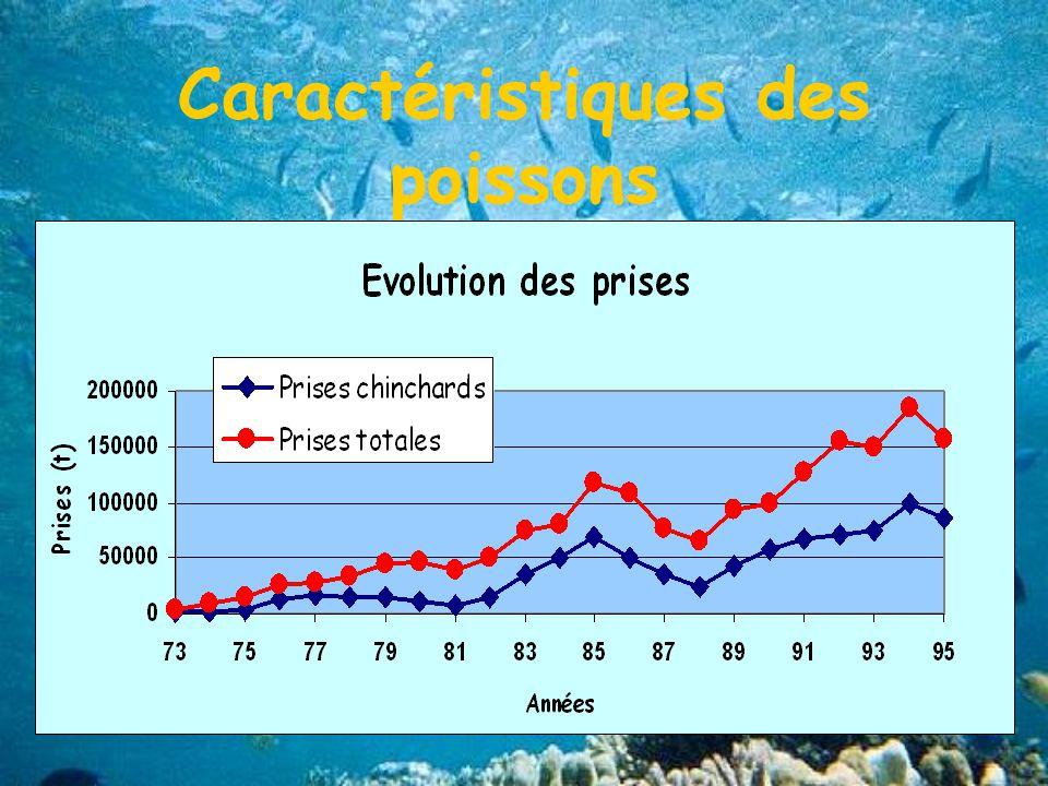 Caractéristiques des poissons Durées de vie courtes Pontes étalées dans le temps avec 1 ou plusieurs pics de ponte Evolution des prises