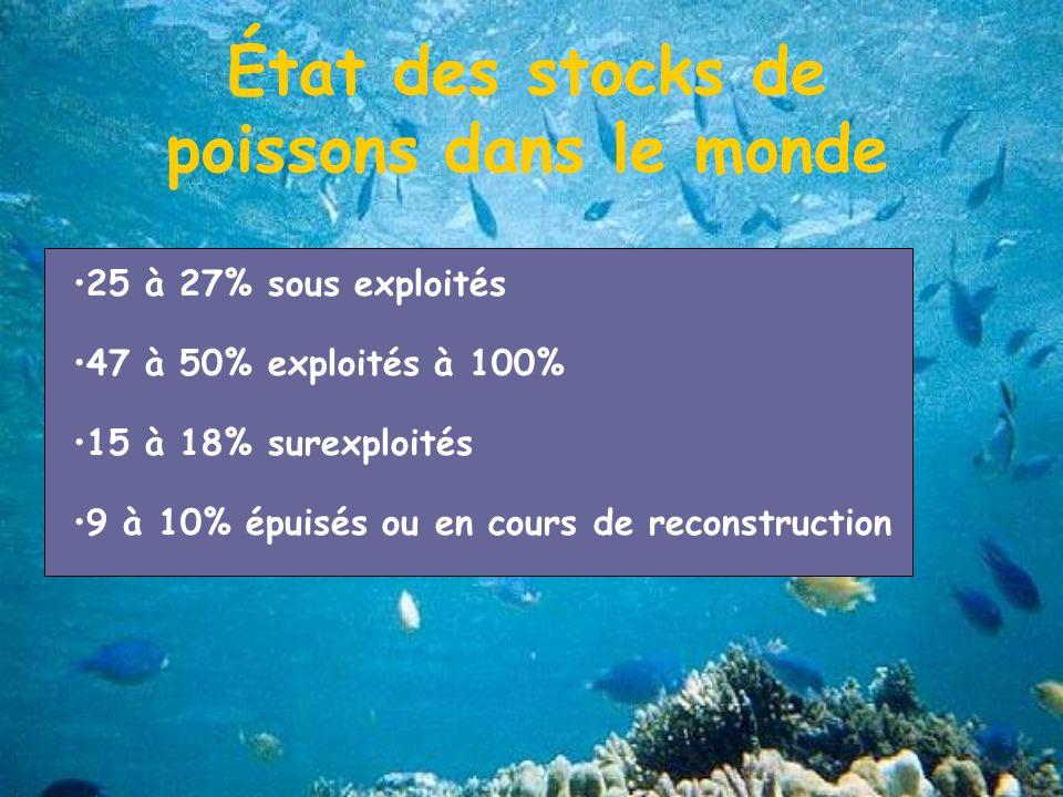 État des stocks de poissons dans le monde 25 à 27% sous exploités 47 à 50% exploités à 100% 15 à 18% surexploités 9 à 10% épuisés ou en cours de reconstruction
